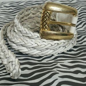 💋Genuine leather white woven belt gold buckle